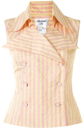Chanel Pre Owned 2004 Striped Sleeveless Shirt