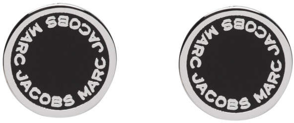 Marc Jacobs Silver and Black Logo Stud Earrings