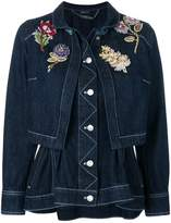 Alexander McQueen Embroidered Denim Peplum jacket