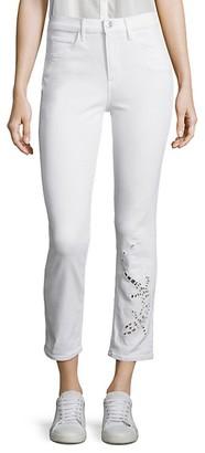 3x1 Sally Salamander Cutout Cropped Straight-Leg Jeans