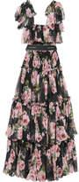 Dolce & Gabbana Shirred Floral-print Silk-chiffon Gown - Black
