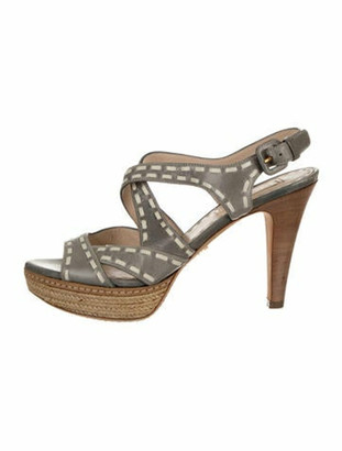 Prada Leather Platform Sandals Grey