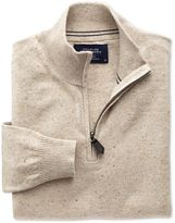 Charles Tyrwhitt Stone Cotton Cashmere Zip Neck Jumper Size XL