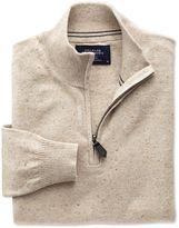 Stone Cotton Cashmere Zip Neck Jumper Size Xl By Charles Tyrwhitt