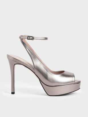 Charles & Keith Patent Ankle Strap Platform Heels