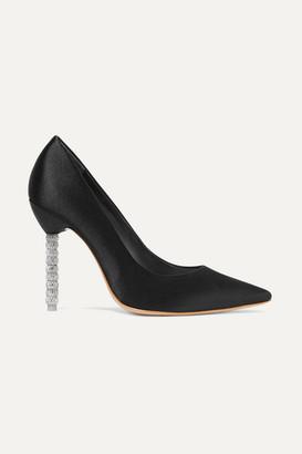 Sophia Webster Coco Crystal-embellished Satin Pumps - Black
