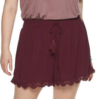 Mudd Juniors' Plus Size Smocked Waistband Shorts