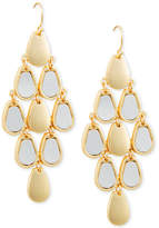 GUESS Gold-Tone & White Faux Leather Chandelier Earrings