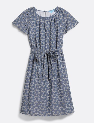 Draper James Embroidered Chambray Tie Waist Popover Dress