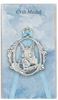 """Germ Guardian 2 1/2"""" Baby Crib Medal, Baby Boy, Infant with Guardian Angel, Silver Cross."""