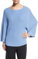 Joan Vass Ribbed Boat-Neck Dolman Sweater, Blue