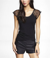 Express Lace Flutter Sleeve Scoop Back Tee