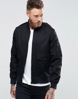 Asos Bomber With Military Details In Black