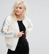 Glamorous Petite Quilted Staeen Relaxed Bomber With Sequin Stripe