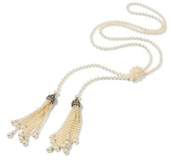 Ben-Amun Glass Pearl Tassel Necklace