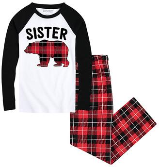 Nap Chat Family Girls' Sleep Bottoms WHITE/BLACK|BUFFALO - White & Black Buffalo Plaid 'Sister Bear' Pajama Set - Girls