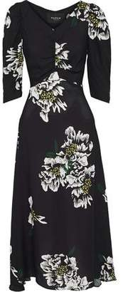 Paper London Maison Ruched Floral-print Crepe De Chine Midi Dress