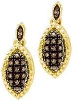 DazzlingRock Collection 0.30 Carat (ctw) 10k Yellow Gold Round Diamond Ladies Drop Earrings