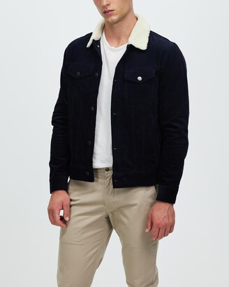Staple Superior - Men's Blue Jackets - Staple Cord Sherpa Jacket - Size XS at The Iconic