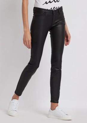 Emporio Armani Skinny J06 Jeans In Coated Gabardine