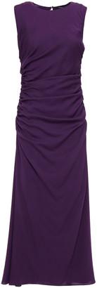 Theory Ruched Stretch-silk Midi Dress