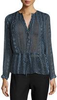 Rebecca Taylor Snakeskin-Print Silk Blouson Top, Bluemarine
