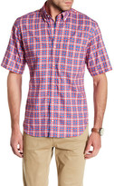 Tailorbyrd Short Sleeve Checkered Trim Fit Woven Shirt
