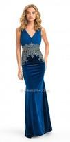 Camille La Vie V Neck Beaded Velvet Evening Dress