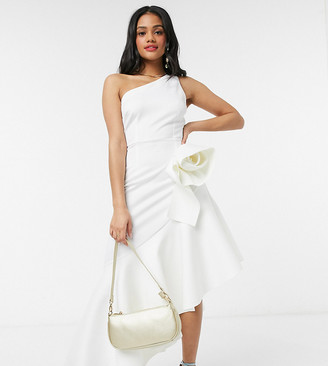 Laced in Love asymmetric ruffle dress with origami rose in white