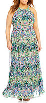 Eliza J Plus Printed Halter Maxi Dress