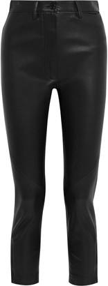 Ann Demeulemeester Cropped Leather Slim-leg Pants