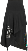J.W.Anderson Asymmetric Embellished Boiled Wool Midi Skirt