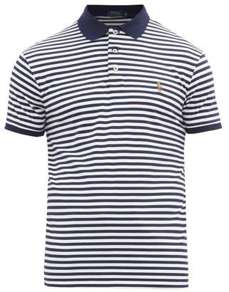 Polo Ralph Lauren Striped Logo-embroidered Cotton Polo Shirt - Mens - Navy White