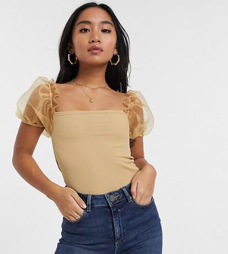 New Look Petite organza mesh sleeve top in camel-Pink