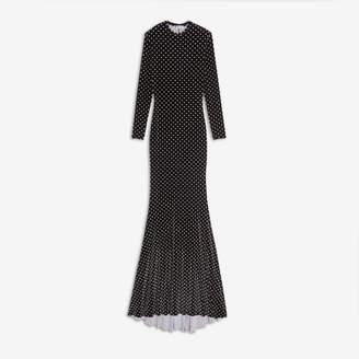 Balenciaga Evening Stretch Dress in black and white polkadot printed velvet