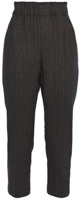 Brunello Cucinelli Bead-embellished Herringbone Cotton-blend Tapered Pants