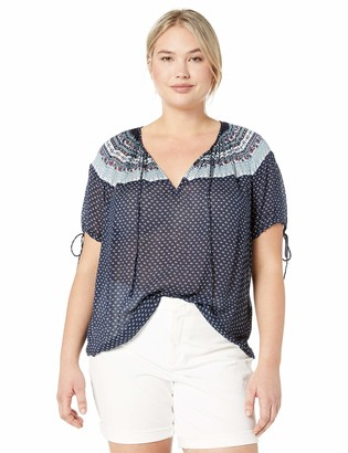 Lucky Brand Women's Plus Size Printed TIE Sleeve Peasant TOP