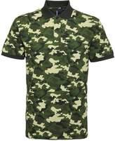 Asquith & Fox Camo Pique Mens Polo Shirt - Blue, Green or Bla - 2XL