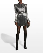 Thumbnail for your product : Andrew Gn Lame Crinkle Belted Mini Dress