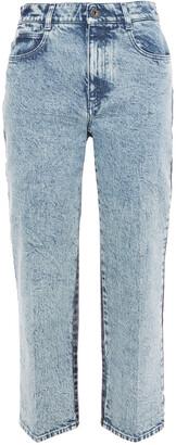 Stella McCartney Cropped Two-tone High-rise Straight-leg Jeans