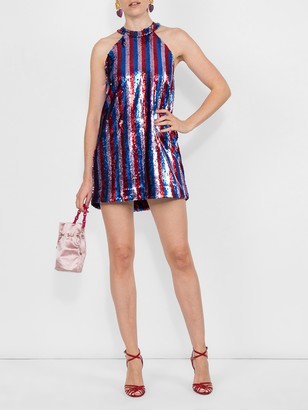 Halpern Sequined Halter Dress