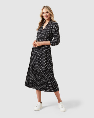 French Connection Spot Midi Pleated Dress