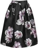 Awtang Womens Korean High Waist Peach Flower Floral Print Skater Pleated A-Line Midi Skirt