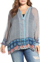 Lucky Brand Plus Size Women's Mix Print Blouse