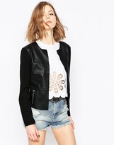 Only PU Jacket With Contrast Sleeves