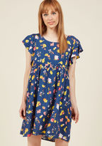 Motel Ebullient Energy Babydoll Dress in Navy in L - Short Sleeve Shift Mini by from ModCloth