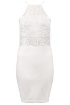 Quiz White Mesh Embroidered High Neck Bodycon Dress