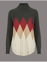 Autograph Pure Cashmere Colour Block Curve Hem Jumper