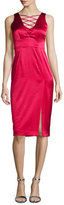 Nanette Lepore Sleeveless Lace-Up Satin Dress W/ Slit