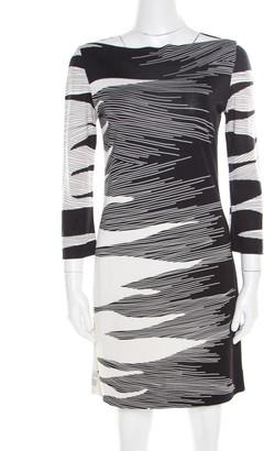 Diane von Furstenberg Monochrome Flame Print Jersey Boat Neck Ruri Dress S